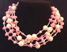 """#CN26  Lightweight Sparkling Pink Lacquer Beads with Large creamy Pearls. Inbetween are tiny pale pink crystals. $148.  18"""" long. I can customize the size for you for an additional charge."""