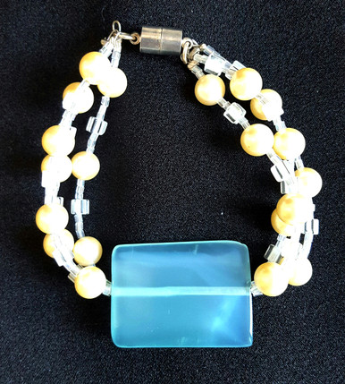 "#BR9 Impressive Large Pale Colored Turquoise Quartz with Three strands of Pearls and Crystals. Magnetic clasp    One of a Kind.  8"" long   $75."