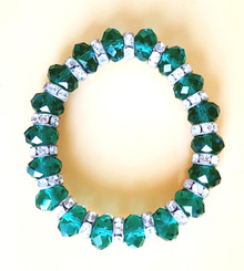 Bracelet Dramatic Bright Green Faceted Crystal Beads with Rhinestone Spacers on Stretch Elastic $35.