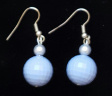 #B44 Lovely Light Blue color of the sea and sky earring with delicate pearl accent $25. Available in wire, post or clip on.