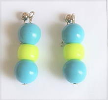 #B34 Turquoise colored Glass and Lime Green Earring $25. Available in Post, Wire or Clip on