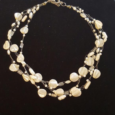#CN29 Delicate and Elegant Multiple Strands of Hand-Crocheted French Pearls  Price $125. 18 inches long but may be special ordered in another size for an added charge