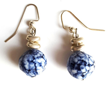 #A94 Dappled Blue, White and Silver Earrings $25. AVAILABLE IN POST, WIRE OR CLIP ON