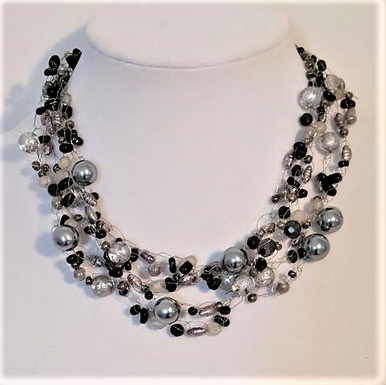 #AN35  Multiple Strands of Hand-Crocheted Gray Pearls and Onyx Chips Make an Elegant Statement $135.