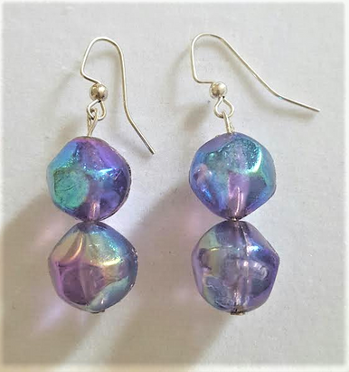 #A5 Translucent  Double Purple Earrings $25. Available in Post, Wire, or Clip on