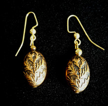 #A39 Earrings Unusual and interesting patterned  Etched Gold drop earrings with an antiqued finish $25. Available in post, wire or clip on