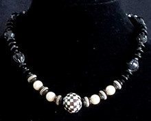 #BN4 We All  love a Necklace we can put on  and Go..Especially this  Interesting Black and White Necklace Featuring  Checkered Inlaid Mother of Pearl , Onyx and  Large White Pearls