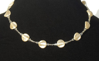 "#AN22 The Ultimate in Simplicity, Delicate, Light weight , Beautiful, Lustrous, French Pearls with tiny Crystal accents. This is a great Choker to wear everywhere, give as a gift..it is an affordable accessory that everyone loves. Price $55.  Length 16"" long but may be custom ordered in custom sizes for slight charge."