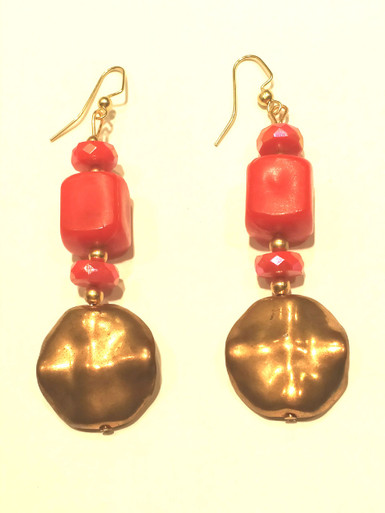 Burnished Gold and Red Drop Earrings $25. Available in post, wire or clip on
