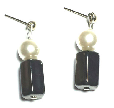 #A40 Dark Gray Hematite and Pearl Drop Earring  Available in wire, post or clip, specify when ordering