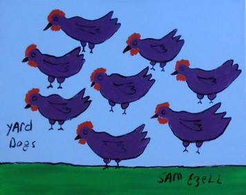 YARD DOGS #940 PAINTING by Sam Ezell