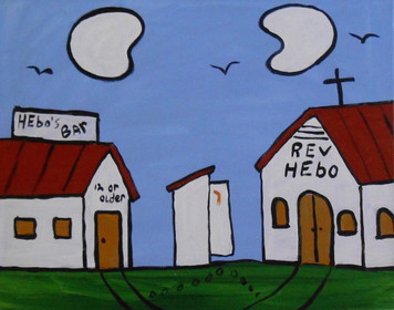 CHURCH and BAR #949 - PAINTING by Sam Ezell