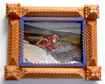 Beautiful TRAMP ART PICTURE FRAME by Geo G Borum