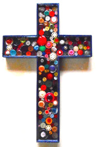 BEAUTIFUL WOOD CROSS covered with COLORFUL BUTTONS