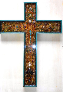 Beautiful Wooden Cross COVERED with Antique Jewelry by George Borum