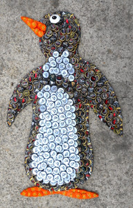 BOTTLE CAP COVERED WOOD PENGUIN - by George Borum