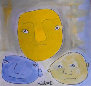 RAW - ART BRUT - 3 FACES -  by Michael