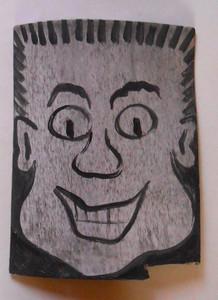 Cartoon Face MAN with a FLATOP HAIRCUT