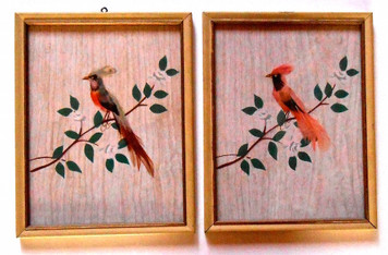 PAIR of FEATHER BIRD PICTURES - REAL FEATHERS