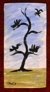 TREE and BLACKBIRDS by Otto Schneider