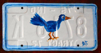 BLUEBIRD License Plate By John Taylor