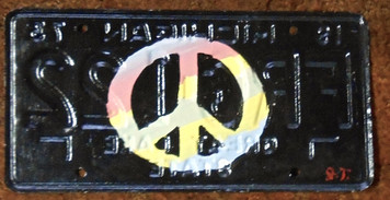 PEACE SIGN License Plate by John Taylor