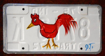 RED ROOSTER License Plate by John Taylor