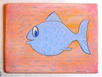 BLUE FISH PAINTING by George Borum