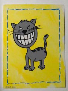 CAT w/ BIG TEETH - ACRYLIC PAINTING on WOOD by George Borum