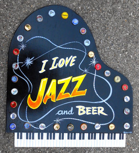 JAZZ & BEER - PIANO WOODEN WALL PLAQUE by George Borum