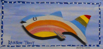 RAINBOW TROUT - FISH CUT-OUT PLAQUE by George Borum