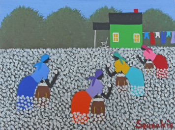 """COTTON PICKING"" Acrylic Painting by Squeakie"