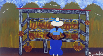 BASKET LADY Acrylic Painting by Squeakie