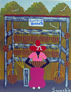 BASKET LADY w/ Sign Acrylic Painting by Squeakie
