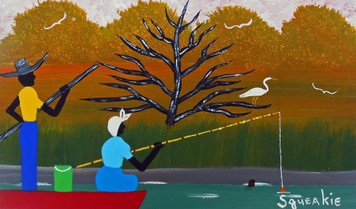 FISHING IN A BOAT Painting by Squeakie