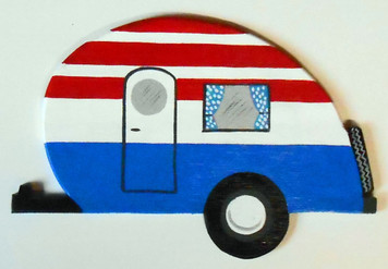 Wood cut-out 50's style Teardrop Camper Trailer - patriotic paint by George E Borum