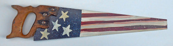 CARPENTER SAW - Oil Painted US American Flag - Red - White - Blue