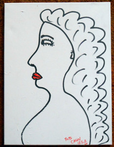 WOMAN WITH RED LIPS by  Pops Casey