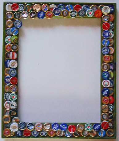 Picture frame trimmed with beer bottle caps possum for Beer bottle picture frame