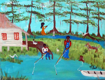 FISHING FOR SUPPER - BLACK ART by P Ford