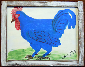 BIG BLUE ROOSTER - Framed - by Floria Yancey