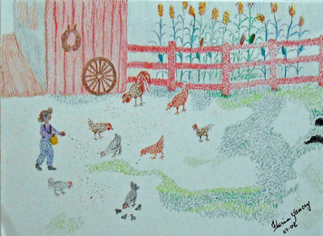 CHICKENS BEING FED by Floria Yancey