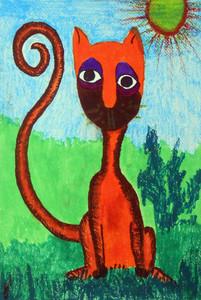 ORANGE CUBBIE CAT by Floria Yancey