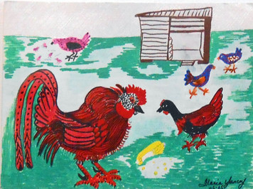 RED ROOSTER IN THE BARNYARD BY FLORIA YANCEY