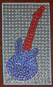 3-D GUITAR CUTOUT trimmed with Beer Bottle Caps by George Borum
