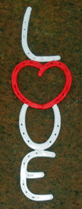 LOVE Horseshoe Sign - Red Heart