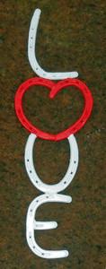 LOVE Horseshoe Sign - Red Heart