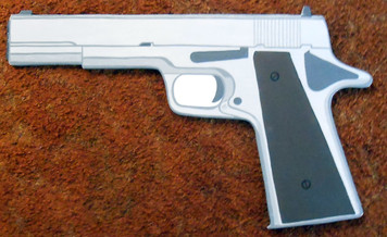 WOOD CUT-OUT AUTOMATIC HAND GUN by George Borum