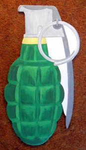 GUN SHOP DECOR - WOOD CUT-OUT HAND GRENADE by George Borum