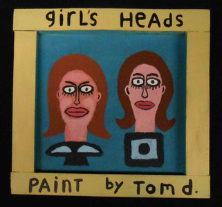 Framed Painting of  Girl's Heads - by Tom d.